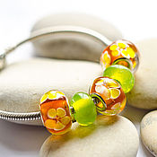 Материалы для творчества handmade. Livemaster - original item A set of lampwork beads for Pandora bracelet