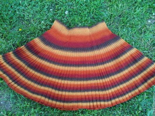 юбка спицами ручной работы `Золотая осень`