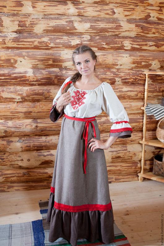 Платья ручной работы. Ярмарка Мастеров - ручная работа. Купить Платье Мама с красным. Handmade. Комбинированный, русский стиль