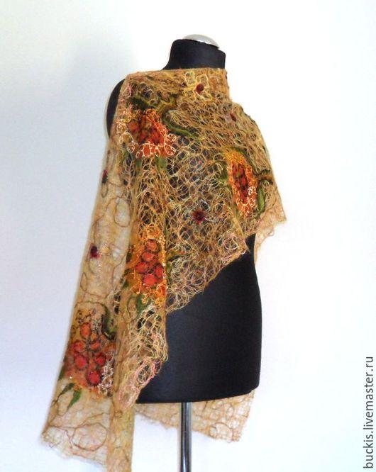 Шали, палантины ручной работы. Ярмарка Мастеров - ручная работа. Купить Ажурный шарф- палантин из мохера - Солнце моё. Handmade.