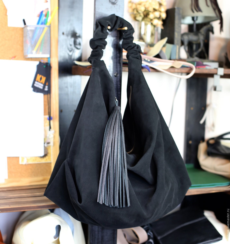 Black suede bag hobo shopper bag suede Bag large tassel, Sacks, Moscow,  Фото №1