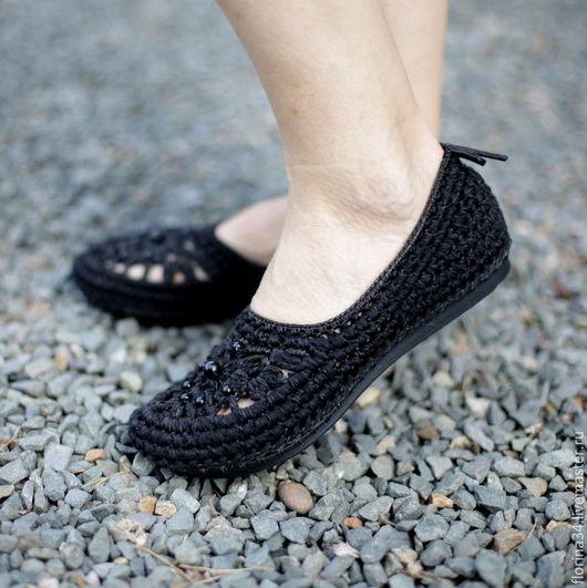"""Обувь ручной работы. Ярмарка Мастеров - ручная работа. Купить Балетки вязаные """"Шик"""", черный, хлопок, р.38. Handmade."""