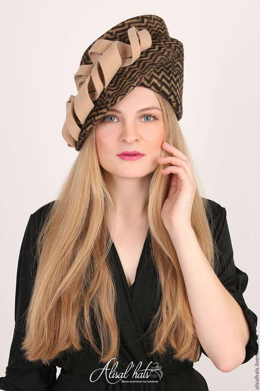 """Шляпы ручной работы. Ярмарка Мастеров - ручная работа. Купить Велюровая шляпка """"Виолетта"""". Handmade. Бежевый, велюровая женская шляпка"""