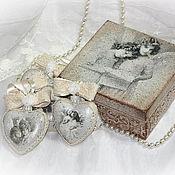 """Подарки к праздникам ручной работы. Ярмарка Мастеров - ручная работа """"Винтажные ангелы"""" набор игрушек в шкатулке. Handmade."""