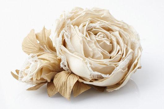 Броши ручной работы. Ярмарка Мастеров - ручная работа. Купить Шелковая роза с бутоном. Handmade.