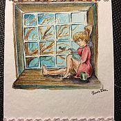 """Открытки ручной работы. Ярмарка Мастеров - ручная работа Авторская открытка ручной работы """"У окна"""".. Handmade."""