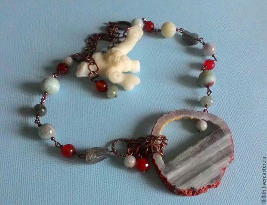 Колье, бусы ручной работы. Ярмарка Мастеров - ручная работа. Купить Ожерелье со срезом агата.. Handmade. Голубой, Сердолик