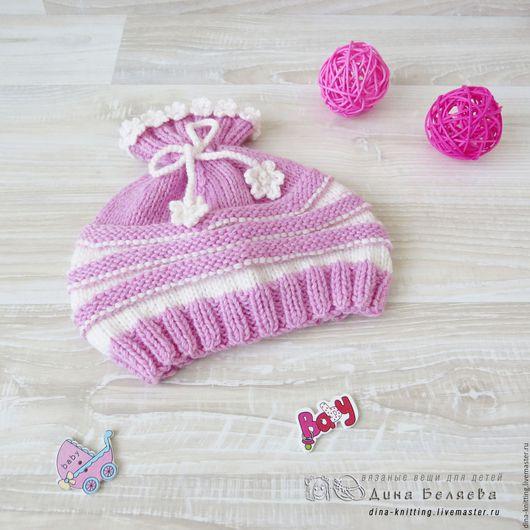 шапочка детская для девочки, детская вязаная шапка, вязаная шапочка, теплая шапочка