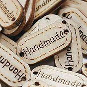 Этикетки ручной работы. Ярмарка Мастеров - ручная работа Бирка деревянная, пришивная Hand made. Handmade.