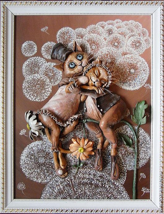 """Животные ручной работы. Ярмарка Мастеров - ручная работа. Купить Объемная картина """"Свидание"""" из глины. Handmade. Коты и кошки"""
