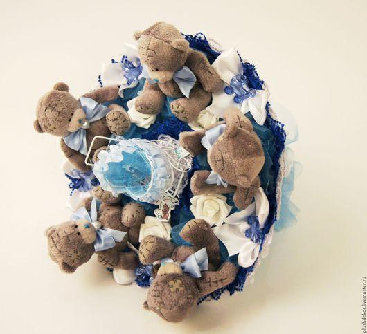 """Букеты ручной работы. Ярмарка Мастеров - ручная работа. Купить """"На рождение сыночка"""". Handmade. Синий, букеты из игрушек"""
