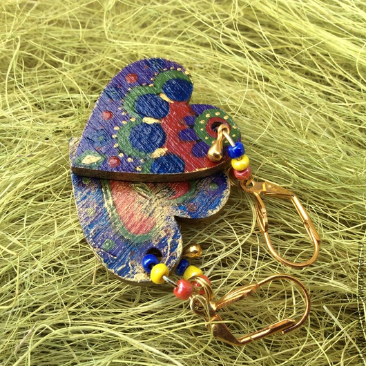 """Серьги ручной работы. Ярмарка Мастеров - ручная работа. Купить серьги """" Сердце"""". Handmade. Синий, серьги деревянные, лак"""