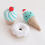 Куклы и игрушки ручной работы. Ярмарка Мастеров - ручная работа Мятный кекс, мороженое, пончик. Handmade.