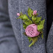 Украшения handmade. Livemaster - original item Mini brooch leather rosette. Decoration leather.. Handmade.