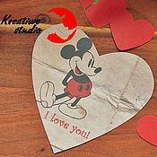 """Открытки ручной работы. Ярмарка Мастеров - ручная работа Открытка-сердце """"Влюблённый Микки"""". Handmade."""