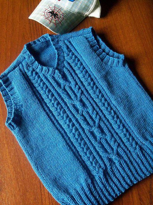 """Одежда унисекс ручной работы. Ярмарка Мастеров - ручная работа. Купить Вязаный жилет """"Джинс"""". Handmade. Голубой, с косами"""