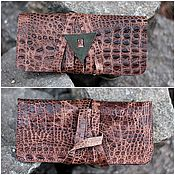 Сумки и аксессуары handmade. Livemaster - original item Pouch case leather for tobacco Croco lace-up. Handmade.
