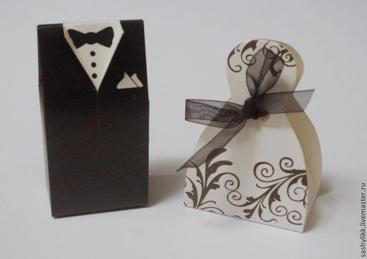 Упаковка ручной работы. Ярмарка Мастеров - ручная работа. Купить Жених и невеста. Handmade. Чёрно-белый, бонбоньерки, коробочка