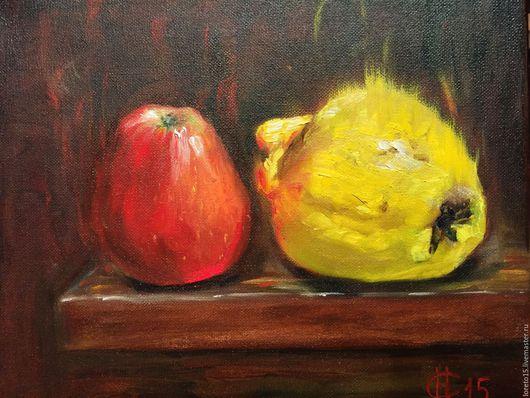 Натюрморт ручной работы. Ярмарка Мастеров - ручная работа. Купить Красное яблоко и айва. Handmade. Желтый, фрукты, натюрморт с фруктами