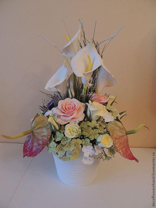 Цветы ручной работы. Ярмарка Мастеров - ручная работа. Купить Букет с калами. Handmade. Каллы, подарок на 8 марта