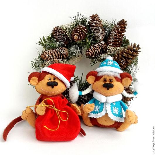 Игрушки животные, ручной работы. Ярмарка Мастеров - ручная работа. Купить Набор новогодних игрушек. Обезьяна Дед Макак и Обезьянка Снегурочка. Handmade.