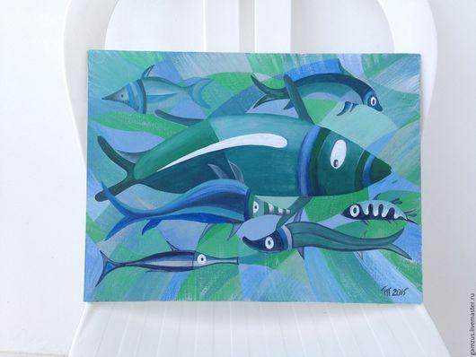 """Этно ручной работы. Ярмарка Мастеров - ручная работа. Купить Картина """"Рыбы на Кипре"""". Handmade. Рыбы, море, голубой цвет"""