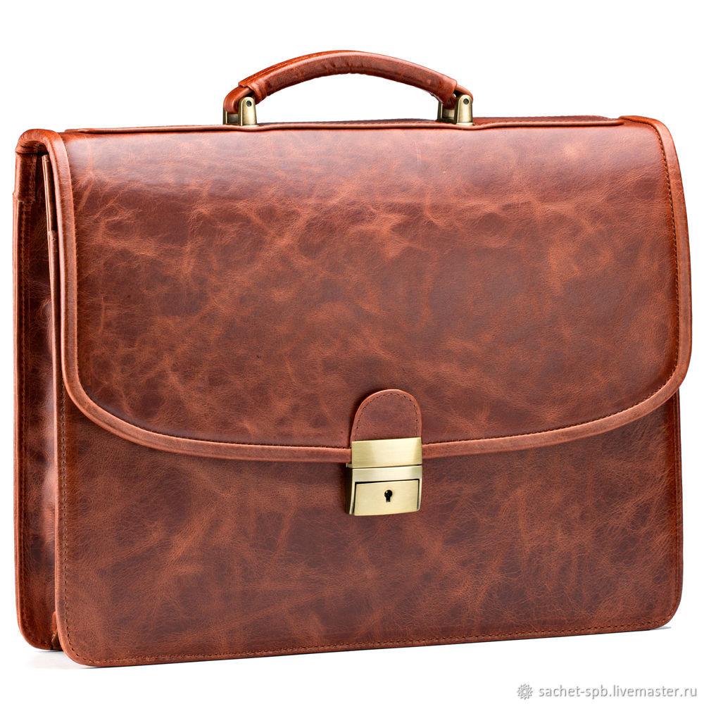 Leather briefcase 'Brest' (red antique), Brief case, St. Petersburg,  Фото №1