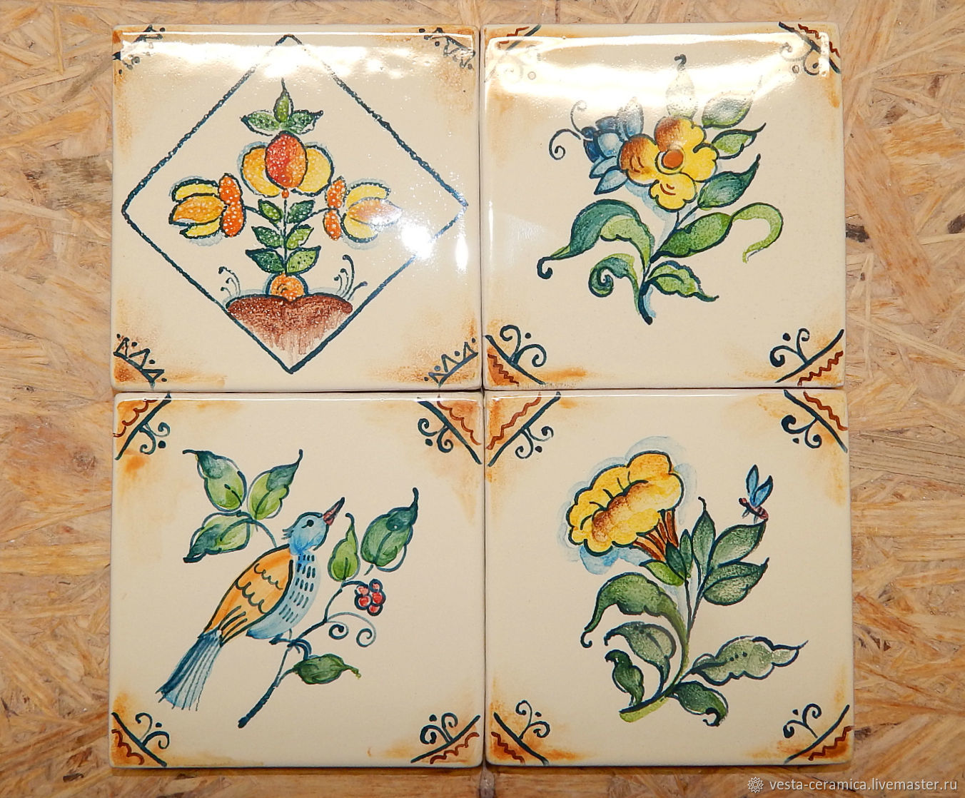 encaustic tiles with painting, Tile, Moscow,  Фото №1