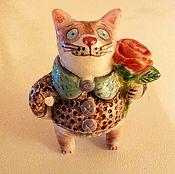 Керамический котик с цветком № 3