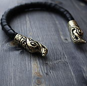 Украшения handmade. Livemaster - original item Viking bracelet,leather bracelet dragon. Handmade.