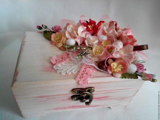 """Шкатулки ручной работы. Ярмарка Мастеров - ручная работа. Купить Шкатулка """"Цветочный микс"""". Handmade. Розовый, подарок на день рождения"""