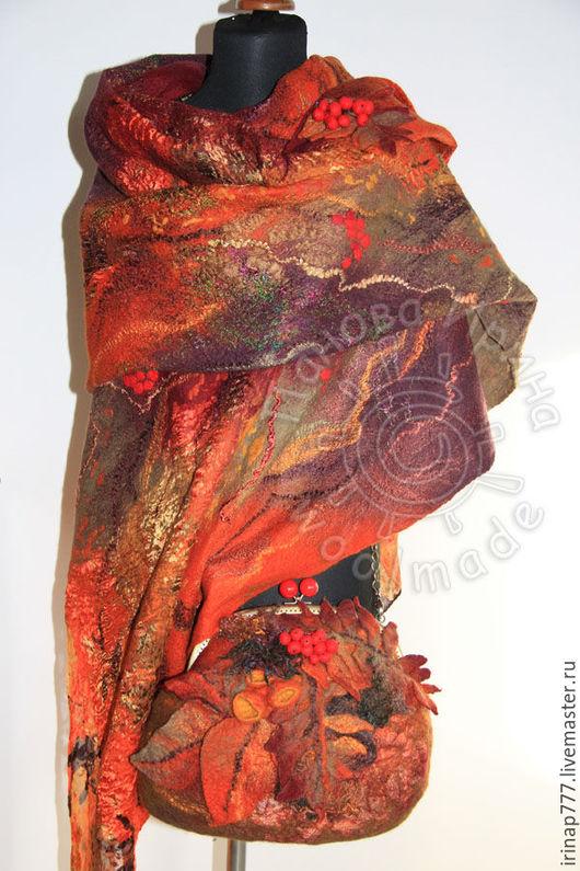 """Шали, палантины ручной работы. Ярмарка Мастеров - ручная работа. Купить комплект """"Багряная осень"""". Handmade. Рыжий, осенний, подарок"""