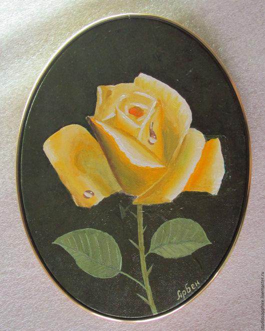 Картины цветов ручной работы. Ярмарка Мастеров - ручная работа. Купить Роза. Handmade. Желтый, картина, холст на подрамнике