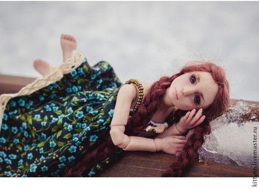 Коллекционные куклы ручной работы. Ярмарка Мастеров - ручная работа. Купить Шарнирная кукла.Девочка. Handmade. Бордовый, шарнирка, полиуретан