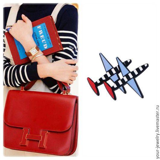 """Броши ручной работы. Ярмарка Мастеров - ручная работа. Купить Брошь """"Aeroplano"""" #1.. Handmade. Комбинированный, синий, модный аксессуар"""