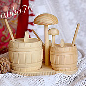Посуда handmade. Livemaster - original item Set of barrels for sugar, salt, spices, honey. Wooden utensils. Handmade.