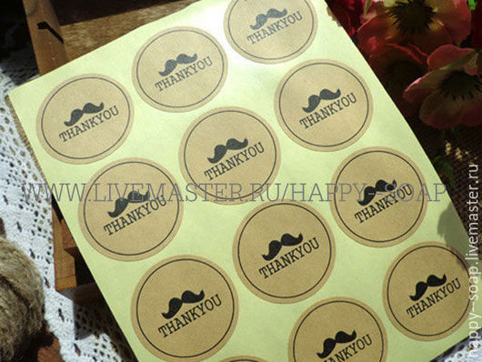 """Упаковка ручной работы. Ярмарка Мастеров - ручная работа. Купить Наклейка-стикер """"THANKYOU"""".. Handmade. Этикетка, для подарка, усы, для бритья"""