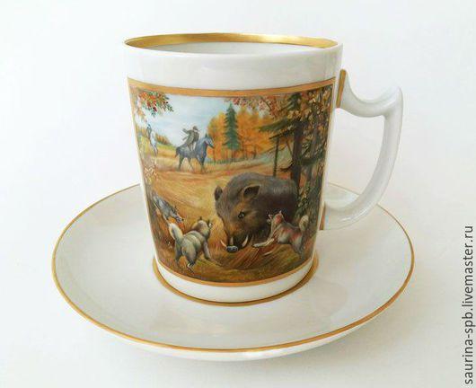Сервизы, чайные пары ручной работы. Ярмарка Мастеров - ручная работа. Купить Чашка чайная с блюдцем Охота на кабана. Handmade.