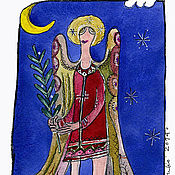 """Открытки ручной работы. Ярмарка Мастеров - ручная работа открытка и календарик """"Ангел""""-Е. Handmade."""