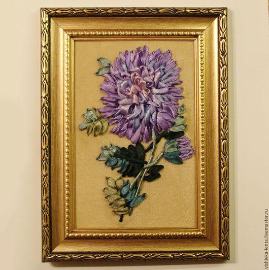 """Картины цветов ручной работы. Ярмарка Мастеров - ручная работа. Купить Вышивка лентами """"Хризантема"""", 10х15 см. Handmade. Фиолетовый"""
