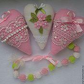 Для дома и интерьера ручной работы. Ярмарка Мастеров - ручная работа Текстильные сердечки. Handmade.