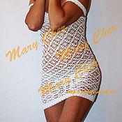 Одежда ручной работы. Ярмарка Мастеров - ручная работа Платье белое ажурное вязаное крючком. Handmade.