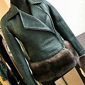 Одежда ручной работы. Ярмарка Мастеров - ручная работа Куртка косуха из кожи питона с отделкой соболем.. Handmade.