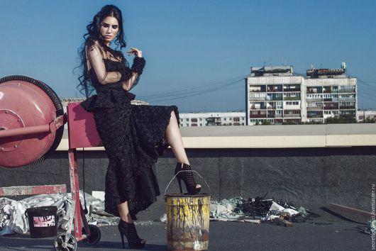 """Платья ручной работы. Ярмарка Мастеров - ручная работа. Купить """"Элегантс"""". Handmade. Черный, платье с вышивкой, фатин"""