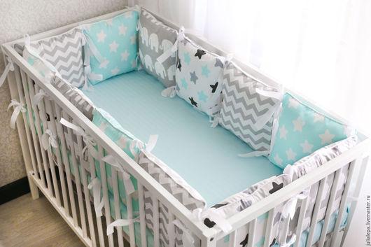 Детская ручной работы. Ярмарка Мастеров - ручная работа. Купить Бортики подушки для детских кроваток 12 шт. Handmade.