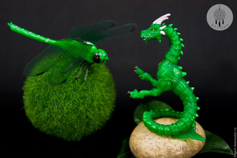 Сказочные персонажи ручной работы. Ярмарка Мастеров - ручная работа. Купить Водная дракошка на ладошке, микро шарнирный дракон BJD (БЖД) Кувшинка. Handmade.