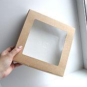 Коробки ручной работы. Ярмарка Мастеров - ручная работа Коробки: Коробка 20х20х4 картонная с прозрачным окном и крышкой. Handmade.