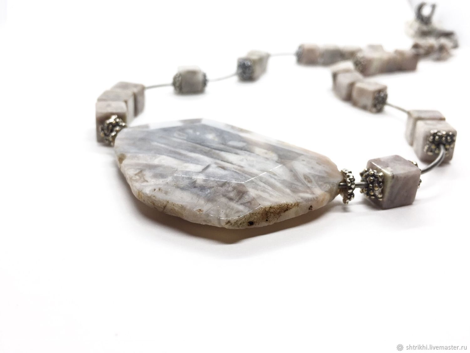 Necklace Silver. Jasper natural, architectural hardware silver plated, Necklace, Moscow,  Фото №1
