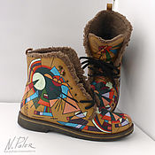 Обувь ручной работы handmade. Livemaster - original item Painting on shoes. Winter boots