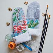 Одежда детская handmade. Livemaster - original item Children`s mittens Ryabinka. Handmade.